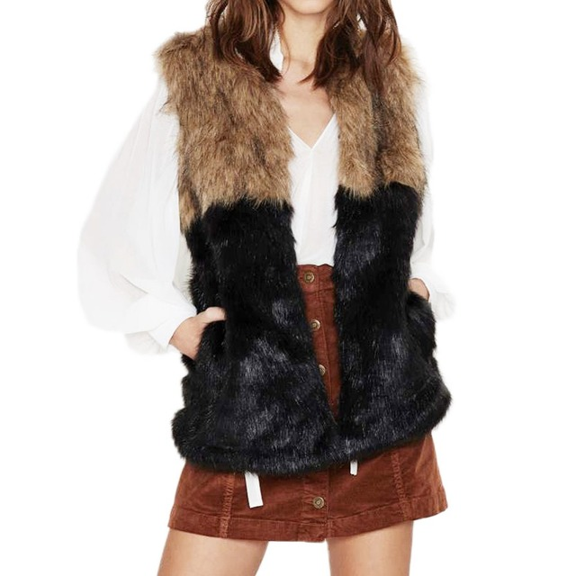 2017 Winter warm fashion Faux fur patchwork vest women Faux Fur black and brown Sleeveless Jacket  Wasitcoat Plus size M-XXXL