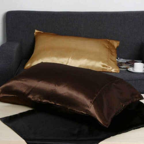 1 par de Fronha de Almofada de Seda Sólida Mistura de Seda Padrão Tampa Fronha Home Textile Queen Size Cor Sólida 2019 nova