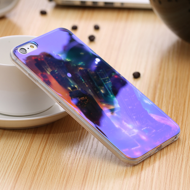 KISSCASE Moderne Bleu Ray Claire Lumière Mobile Téléphone Cas Pour iPhone 7 6 6 S 6 Plus 6 S Plus Couvercle Transparent Pour iPhone 6 6 S 5S SE