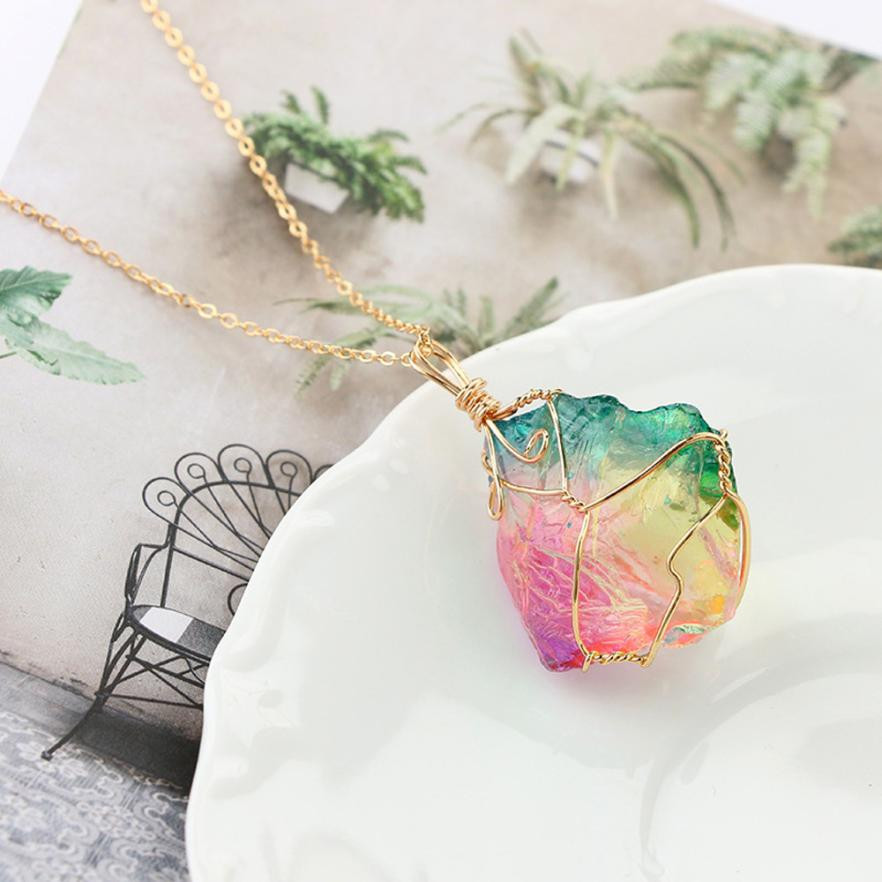 Susenstone Rainbow Stone Natural Crystal Rock Necklace Quartz Pendant Wonderful Gift For Female Jewelery Choker L10