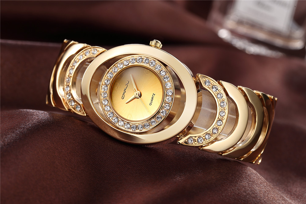 Gold Watch Women Luxury Brand Bracelet Las Quartz Gifts For Full Stainless Steel Rhinestone Wrisches Whatch In S Watches From