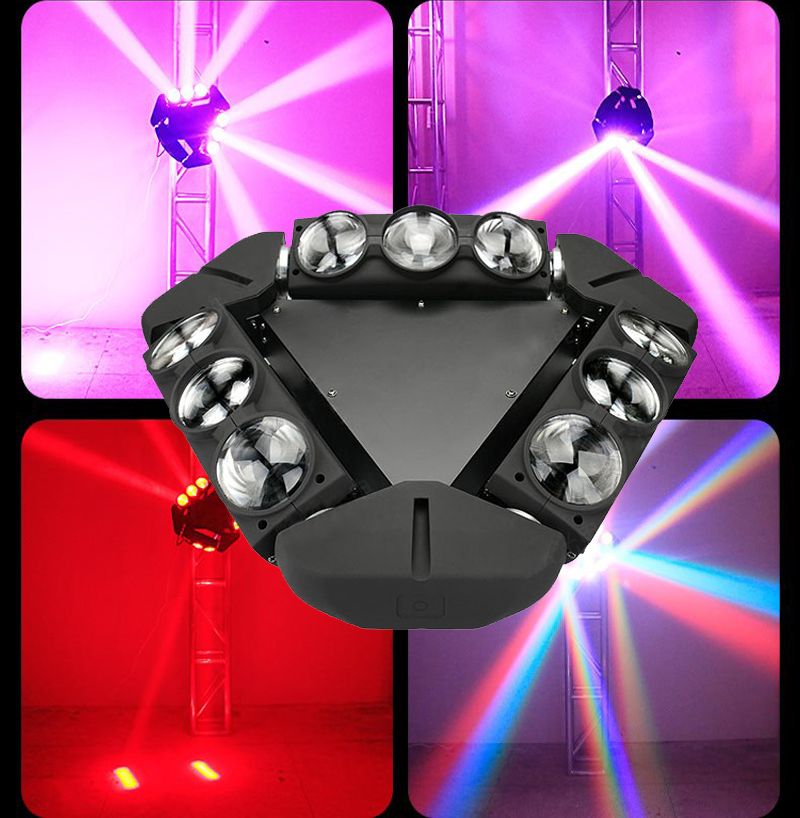 LED Spider Beam Moving Head Light 9x12w RGBW 4in1 Moving Head Led DMX Satge Lighting For DJ Disco Concert Wedding Party Show