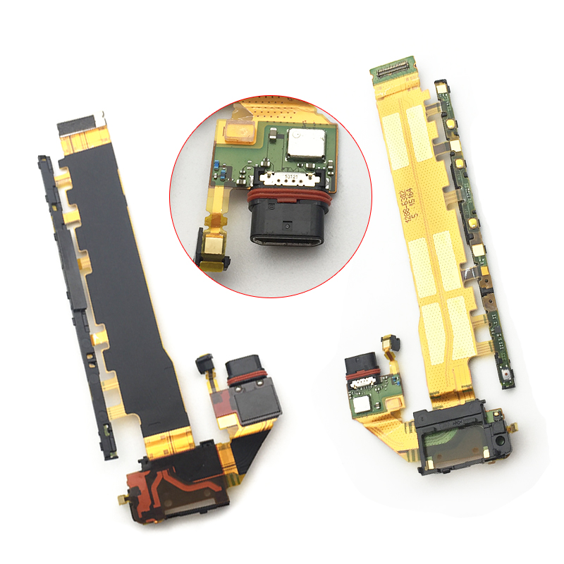 New USB  Dock Charging Port Flex Cable For SONY Xperia Z3 Plus Z4 E6533 E6553 Power Charger Volume Button Microphone Board