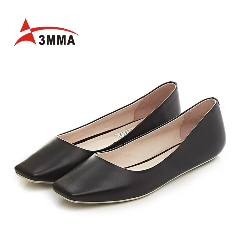 3MMA Genuine Leather New 2017 Classic Women Casual Shoes Spring Autumn Slip on Women Ballet Flats Fashion Square Toe Shoes Woman
