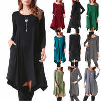 Осенне-зимнее хлопковое женское платье с длинным рукавом, необычное свободное платье, повседневное черное платье размера плюс, мини-платье,...