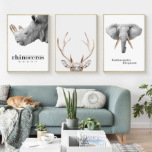 Nordic Decoration Rhinoceros Elephant Antelope Wall Art Canvas Poster And Print Animal Painting Picture for Room Decor