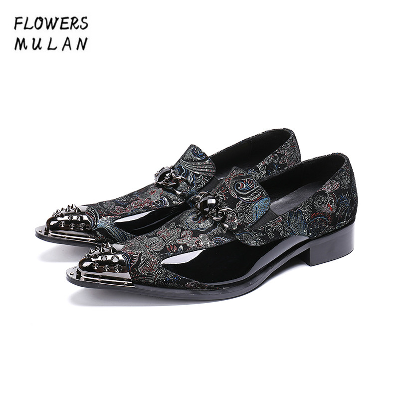 New Desigeners Handmade Men Dress Shoes Silver Metal Studded Toe Embroidery Flower Black Crystal Buckle Slip On Business ShoesNew Desigeners Handmade Men Dress Shoes Silver Metal Studded Toe Embroidery Flower Black Crystal Buckle Slip On Business Shoes