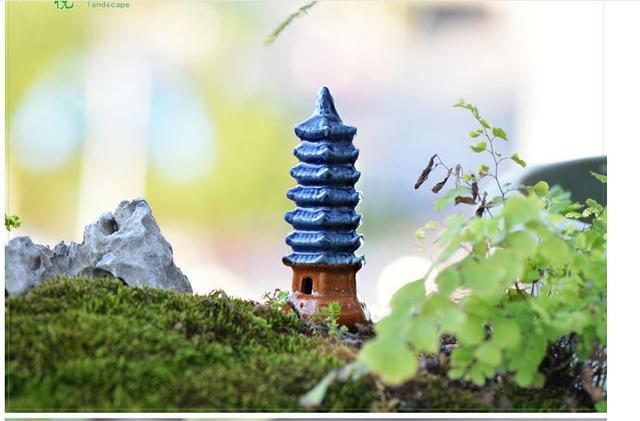Micro landscape Ornaments Bonsai Garden Decoration Ceramic tower Home Decoration Ornaments Garden Decorations Mini Pagoda1 PCS 5