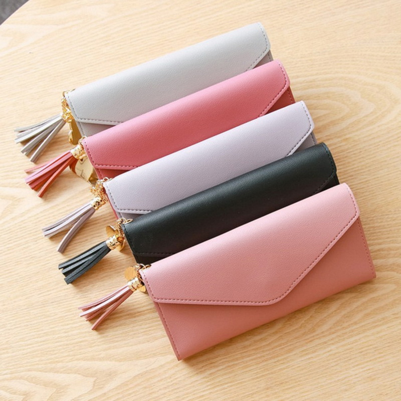 Women Long Wallet Heart Pendant Tri-Fold Leather With ID Window Coin Purse Young Fashion WalletWomen Long Wallet Heart Pendant Tri-Fold Leather With ID Window Coin Purse Young Fashion Wallet