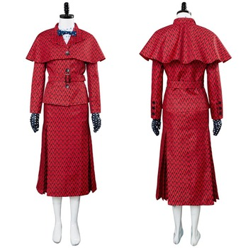 2018 Mary Poppins Returns Cosplay Mary Poppins Costume Red Dress Gown For Adult Women Men Halloween Costume