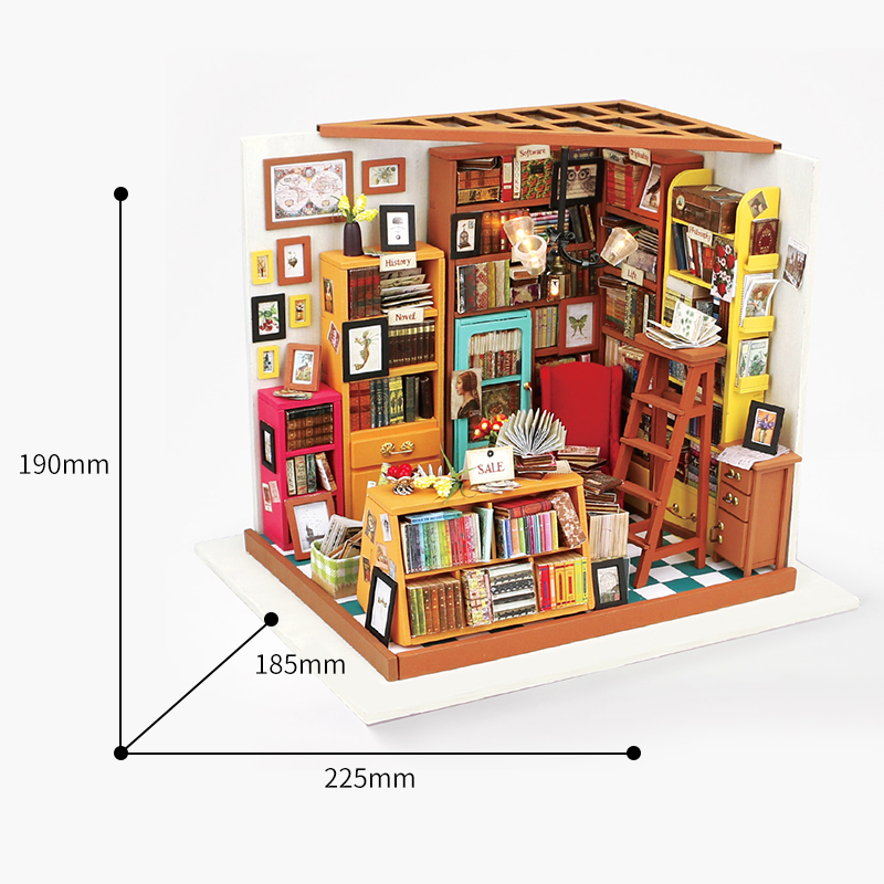 Robotime-3D-Puzzle-DIY-New-Arrival-Wooden-Decor-Collection-Wooden-House-Toys-Creative-Gift-Sams-bookstore-With-LED-Light-DG102-1