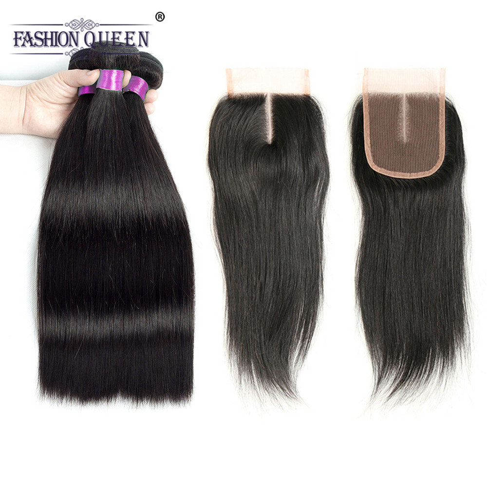 Fashion Queen Hair Brazilian Straight Hair Bundles With Closure Non-remy Human Hair 3 Bundles With Lace Closure Natural Color