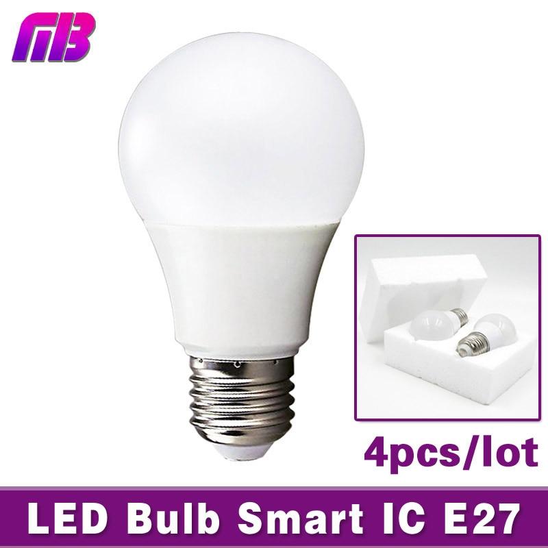 [MingBen] 4pcs LED Bulb Lamp E27 3W 5W 7W 9W 12W 15W 220V Smart IC Light Lampada de Bombillas LED Candle Light Cold/Warm White наушники akg n20 silver