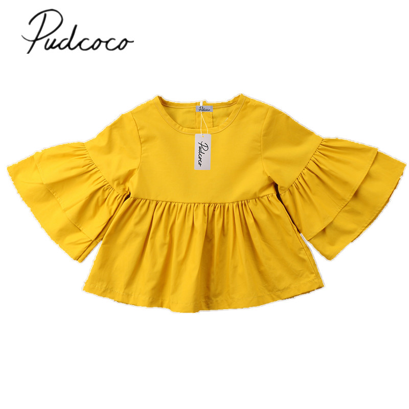 2018 Gloednieuwe Peuter Baby Kind Leuke Meisje Kid Vlinder Mouw Top T-shirt Sunsuit Outfit Effen Kleding Groothandel 6 M-4 T