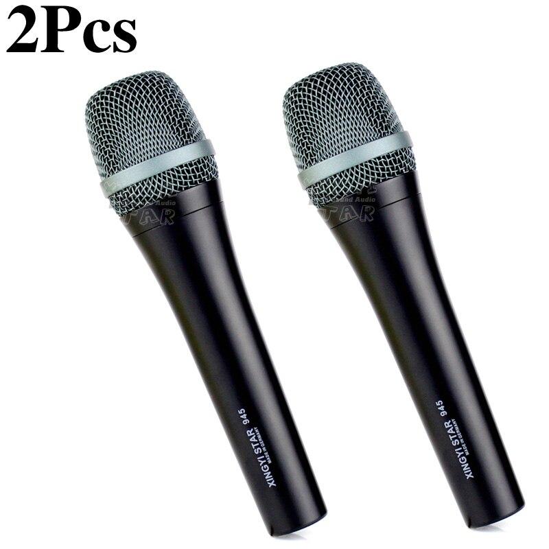 2 pièces e 945 professionnel portable supercardioïde Vocal dynamique Microphone karaoké système pour e945 DJ mélangeur chant mobile bobine micro