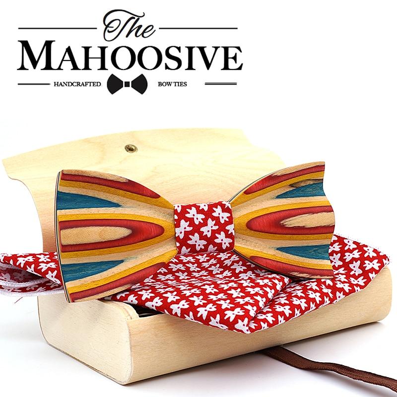 Mahoosive Wood bow tie Dot Jacquard Woven Men Butterfly Self Bow Tie BowTie Pocket Square Handkerchief Hanky Suit Set