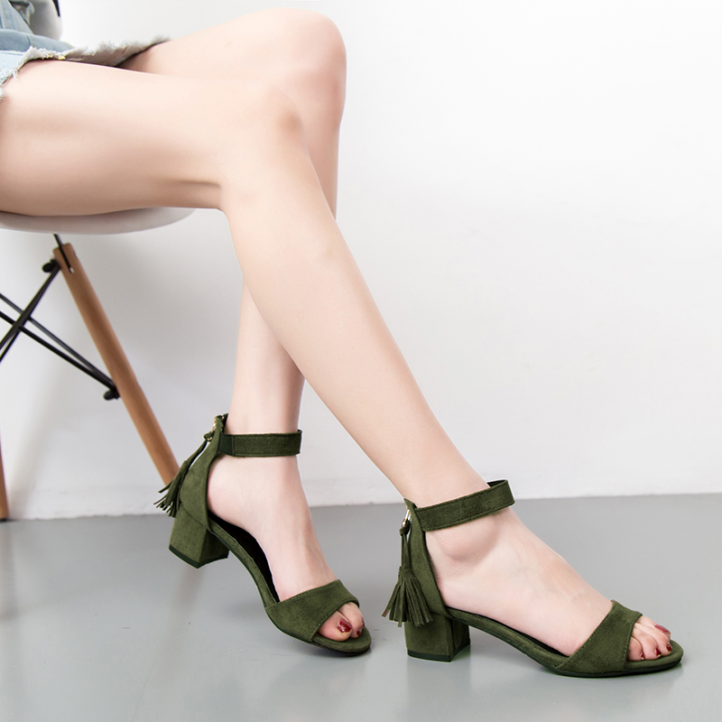 Woman Shoes 2019 summer Tassel Flock women sandals fringe sandal heels Thick high heels sandals sandalias de salto alto m455