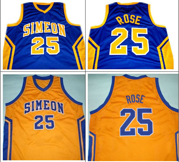 purchase cheap 16ac0 2e29e DERRICK ROSE #25 SIMEON HIGH SCHOOL BASKETBALL JERSEY BLUE ...