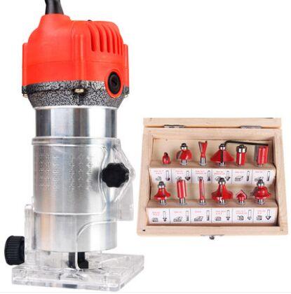 300 W à 600 W Aluminium housting outils électriques à bois tondeuse machine outils de menuiserie gravure avec 12 pièces ensembles de matrices