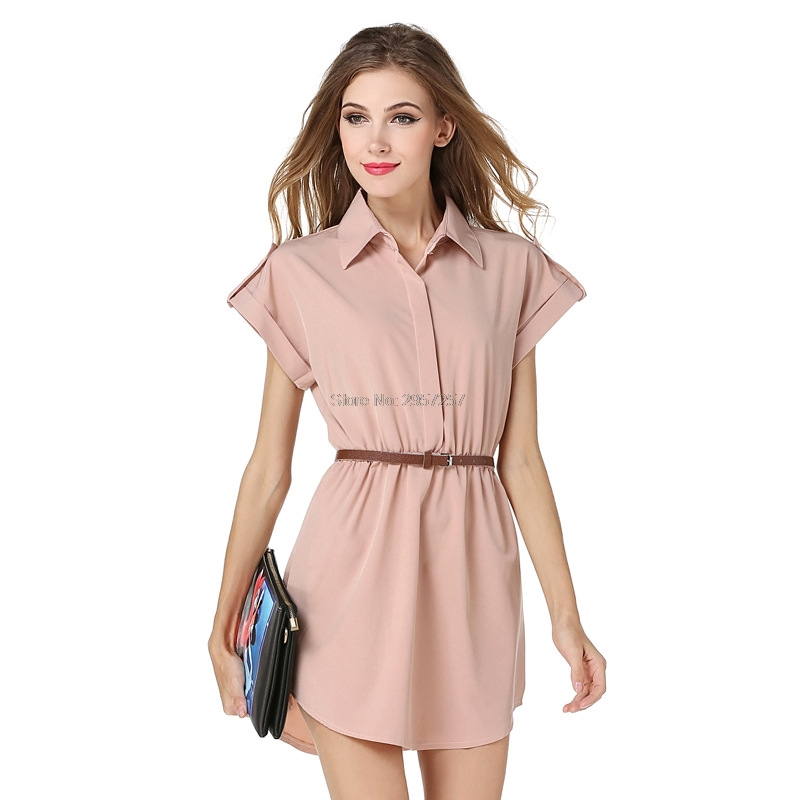 Women Summer Pink Chiffon Formal Dress Comfort In Wear New Office