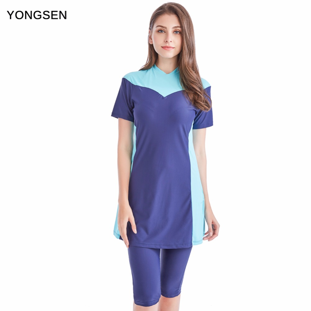 YONGSEN Women Plus Size Modest Muslim Swimwear Short-sleeved Burkinis Hijab Muslimah Islamic Swimsuit Sport Clothing