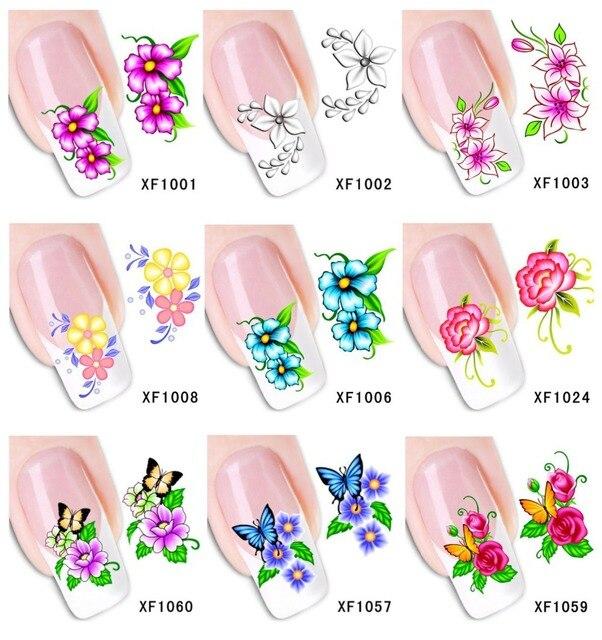 60sheets Xf1001 Xf1060 Nail Art Flower Water Tranfer Sticker Nails Beauty Wraps Foil Polish Decals