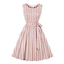 где купить Vertical Striped Women Dress Tie Waist 1950s 50s Retro Swing Vintage Dress Pocket Sleeveless Skater Flare Party Casual Dresses дешево