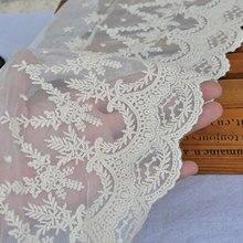 Tela de encaje de boda Floral/encaje de novia bordado de color marfil crudo/accesorios Alter festoneado encaje ancho de estilo Vintage de lujo