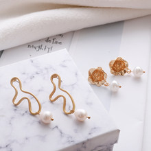 Gold Color Metal Dangle Drop Earrings For Women Irregular Geometric Pearl Drop Earring Wedding Brincos 2019 Simple New Jewelry(China)