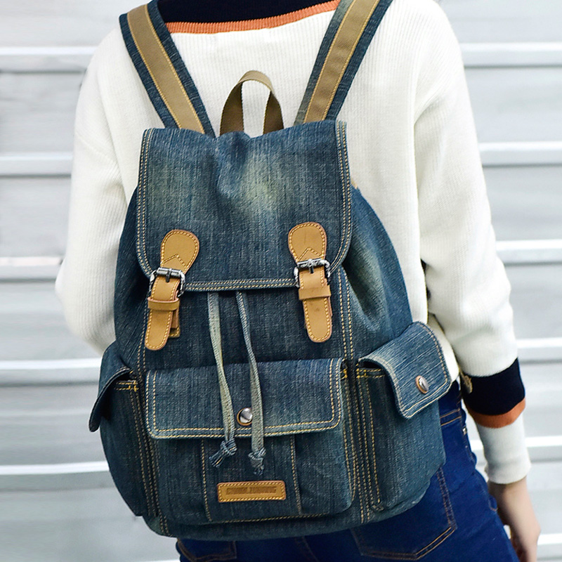 Korean student schoolbag male retro shoulder bag female leisure denim backpack new korean female bag canvas backpack personality badge backpack leisure student schoolbag