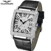 GUANQIN New Men Wristwatch Luxury 2018 Quartz Watch Men Diamond Style Waterproof Leather Watches Clock Man relogios dropshipping