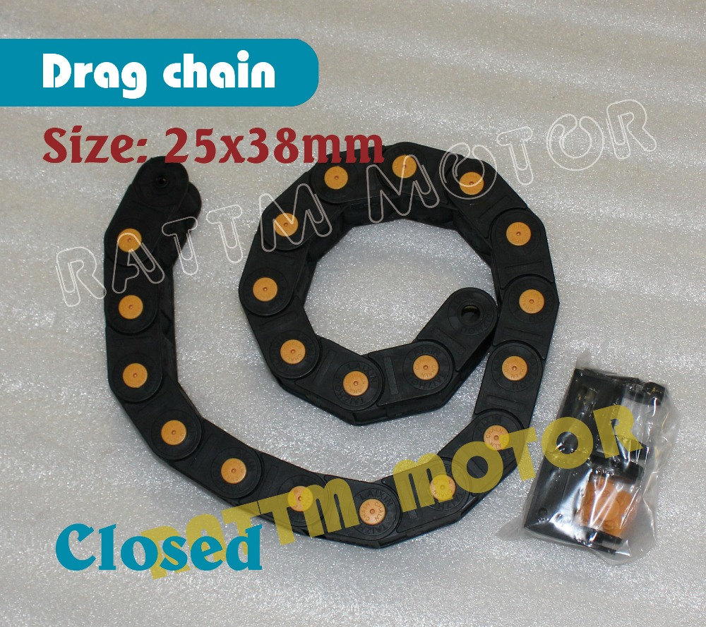 1M  total closed type 25 x 38mm Cable drag chain wire carrier with end connectors plastic towline for CNC Router Machine Tools