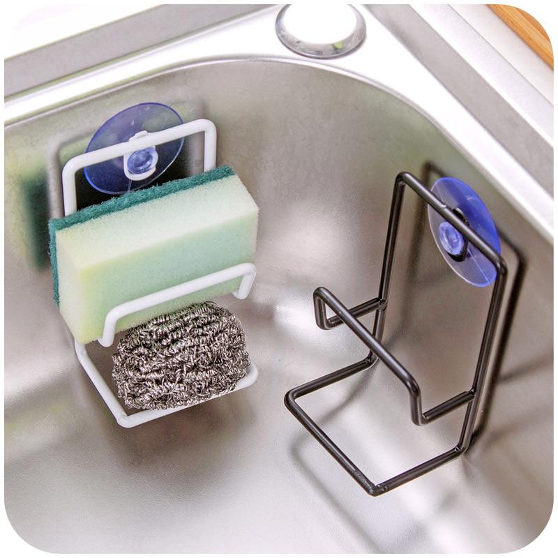 Kitchen Sink Sponge Holder: Iron Double Sink Sponge Holder Cloth Storage Rack With