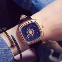 2017 GUOU Square Unisex Watches Men Ladies Quartz Wrist Watch Casual Leather Reloj Hombre Date Rose Gold Women Dress Clock Black
