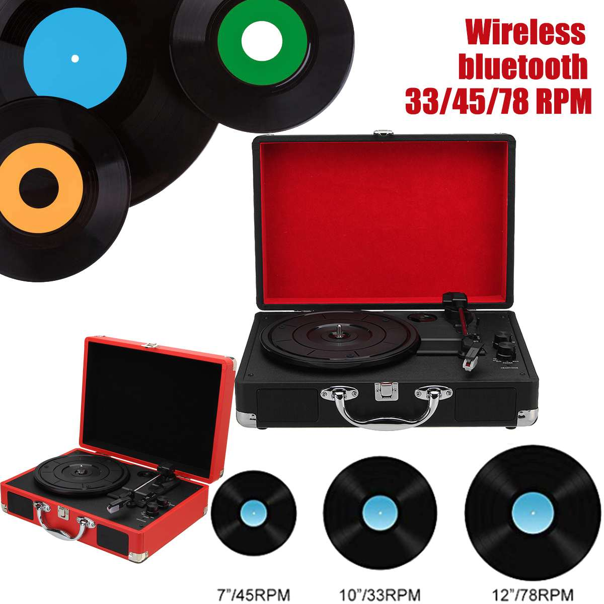 Retro V1 33/45/78 RPM Bluetooth 2.0 Portable Suitcase Record-Player 3-Speed Aux-in MP3 Record-Player With Speaker 2