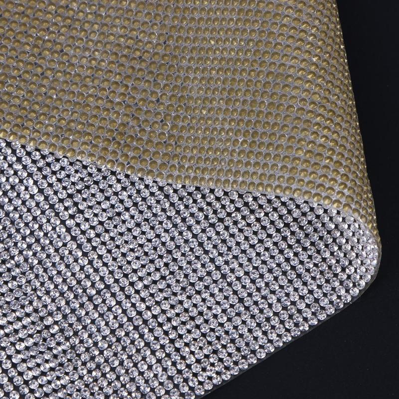 SS6 Rhinestone Trim Cut Crystal Beaded Applique Hotfix Iron On Strass Mesh Banding In Roll DIY Clothing Decor Sticker 23x39cm