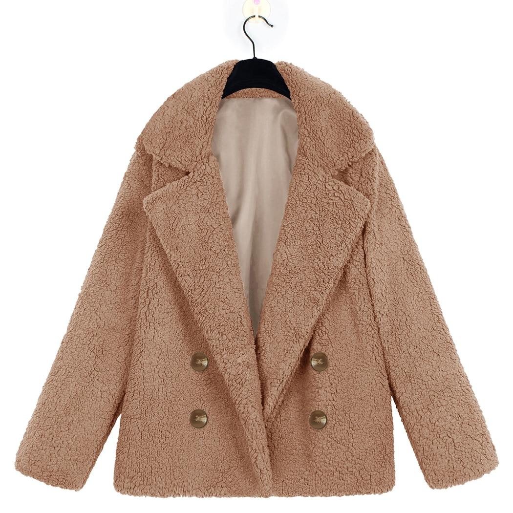 women elegant faux fur teddy bear coat jacket 2018 autumn. Black Bedroom Furniture Sets. Home Design Ideas