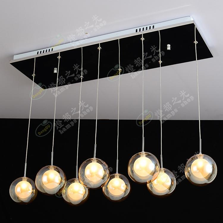 Pendentif lampe bar escaliers 8 tête Simple moderne pendentif lumières hall d'entrée lampe LED creative verre bulle balle ZL325