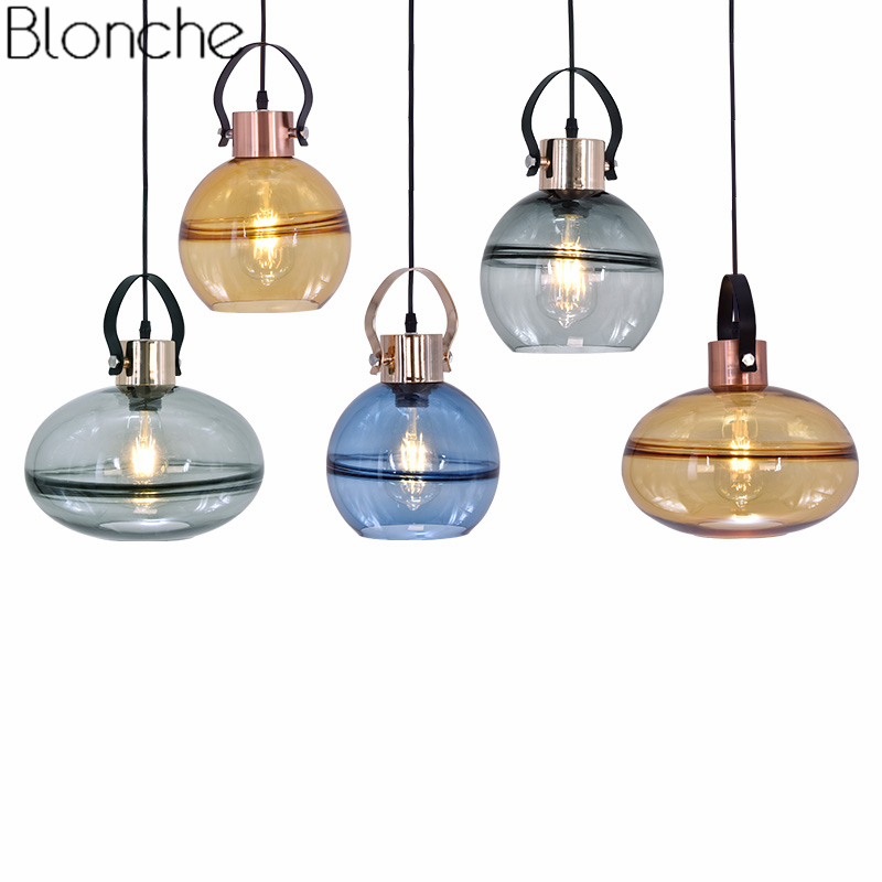 American Vintage Pendant Lights Glass Led Hanging Lamp for Living Room Bedroom Loft Industrial Luminaire Home Decor Fixtures E27 chandeliers lights led lamps e27 bulbs iron ceiling fixtures glass cover american european style for living room bedroom 1031