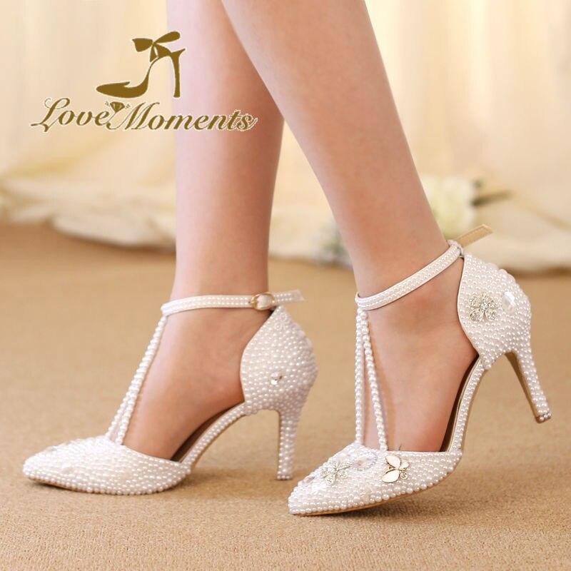 95cc6522 Crystal Diamond White Pearl Sandały Pointed Toe Białe buty ślubne ...