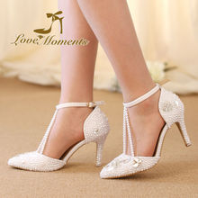 Love Moments Crystal Diamond pearl Sandals Pointed Toe White Wedding Shoes for Bride Women Pumps Dress party shoes  High Heels
