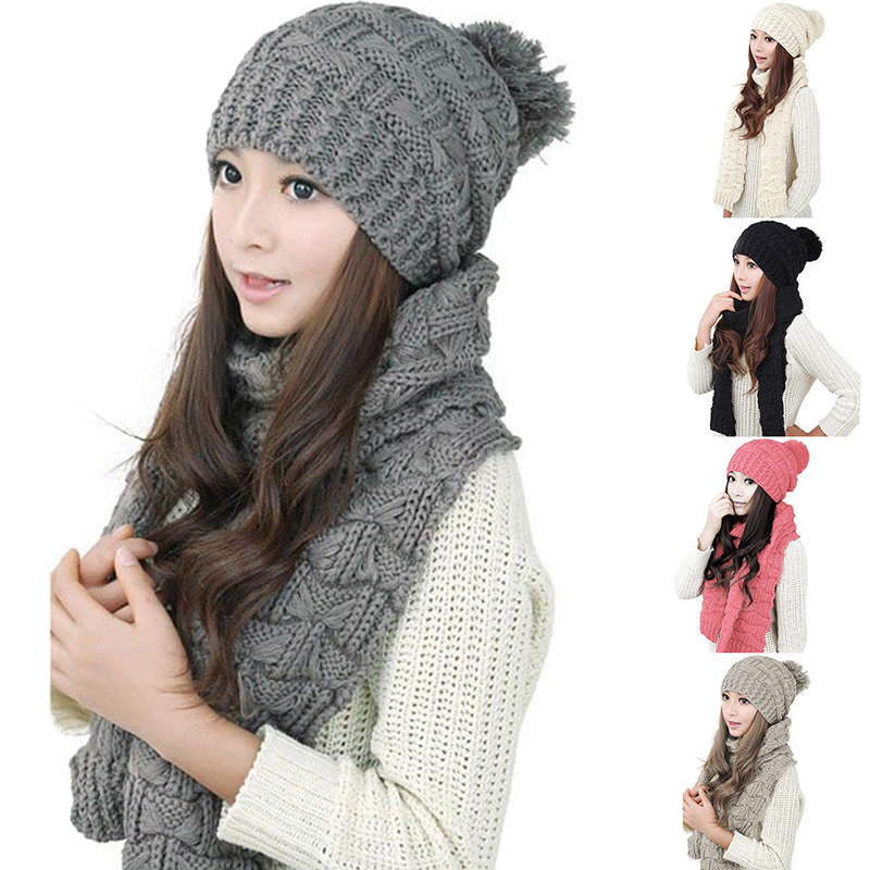 Women Long Scarf +hat Cap Warm Bonnet Knitting Thicken Winter Strech For Women Scarves Fs99 A Wide Selection Of Colours And Designs