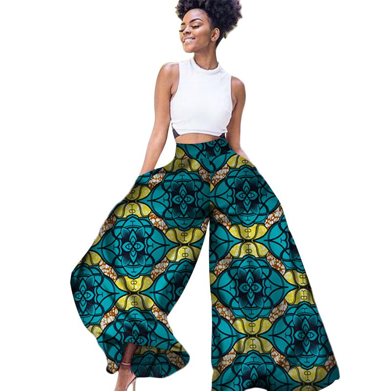 bcc796b77d 2019 Women African Batik Print Pants African Print length Loose long Wide  Leg Pants Ankara Cotton Fabric Clothing WY3105