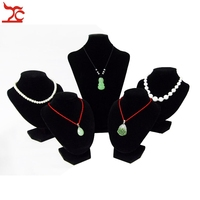 Wholesale Jewelry Display Bust 5Pcs Black Velvet Mannequin Pendant Necklace Display Storage Organizer Holder Stand Kit