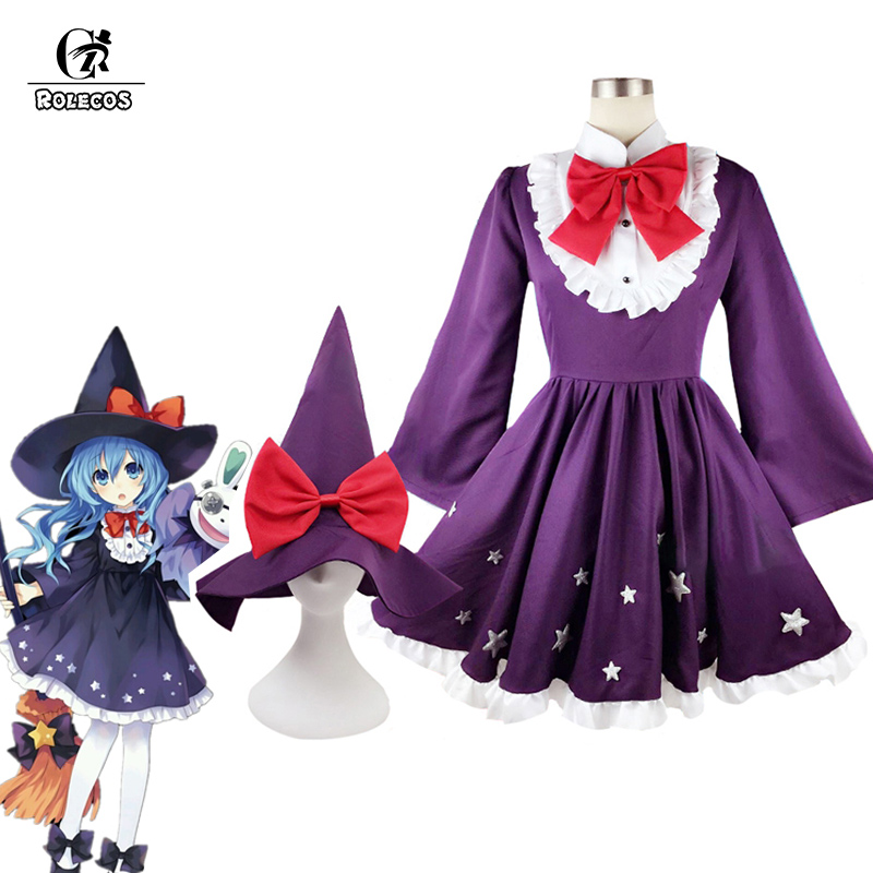 ROLECOS Anime Date A Live Cosplay Costume Yoshino Cosplay Costume Witch Dress Women Lolita Dress Purple Maid Dress with Hat