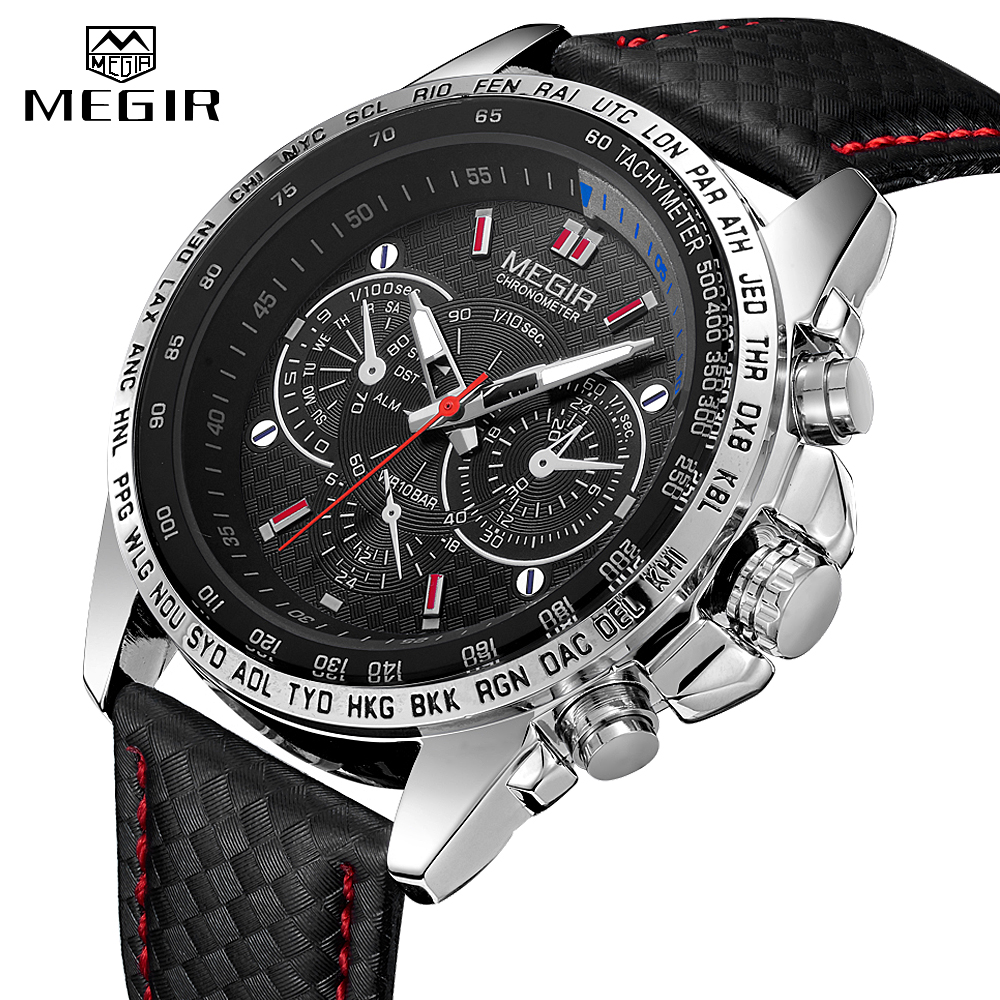 MEGIR Watches Men's Quartz Wrist Watches Top Brand Luxury Male Fashion Casual Luminous Waterproof Clock Leather Watch Hot 1010