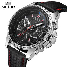 MEGIR Watches Mens Quartz Wrist Top Brand Luxury Male Fashion Casual Luminous Waterproof Clock Leather Watch Hot 1010