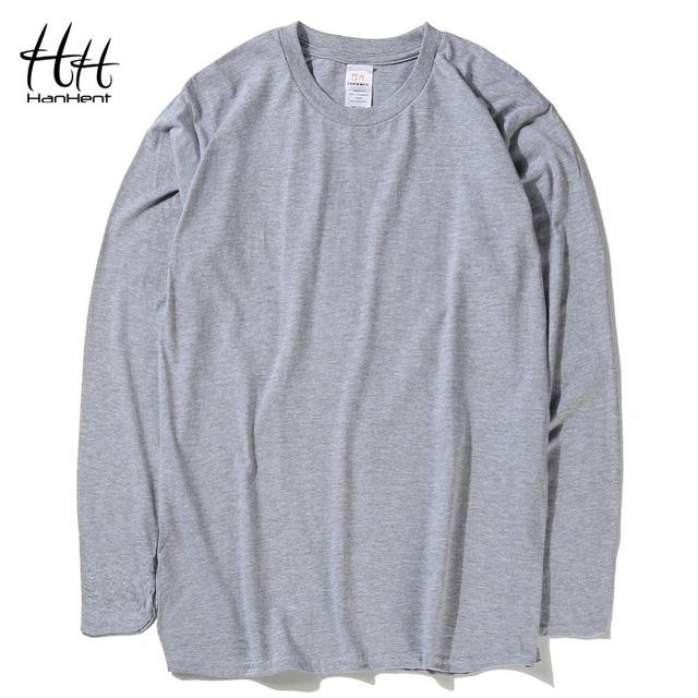 HanHent Clássico Da Moda Dos Homens do Algodão Camisetas cor Sólida Manga Longa O-pescoço Tshirts Outono Nova Primavera Musculação camisas Básicas T