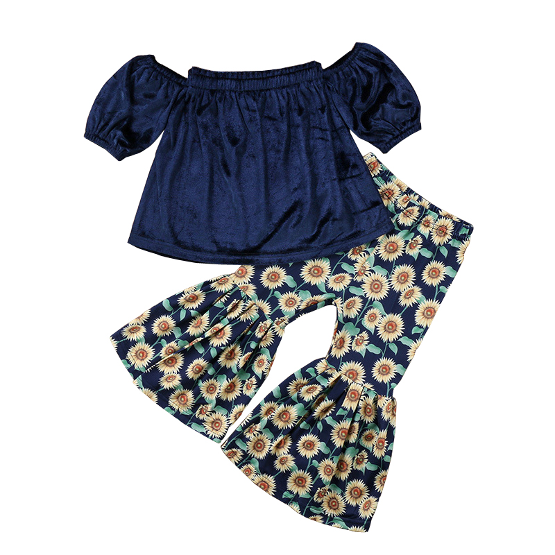 Baby Girl Clothes Set Child Newborn Infant Girl Baby Clothing Summer Off Shoulder Top+Boot Cut Pant 2Pcs Suits For Little Girls