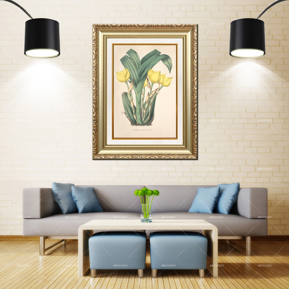 Artcozy Golden Frame Abstract tulip Flower Waterproof Canvas PaintingArtcozy Golden Frame Abstract tulip Flower Waterproof Canvas Painting